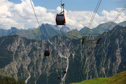 Cable Car Mountains Clouds Hiking View