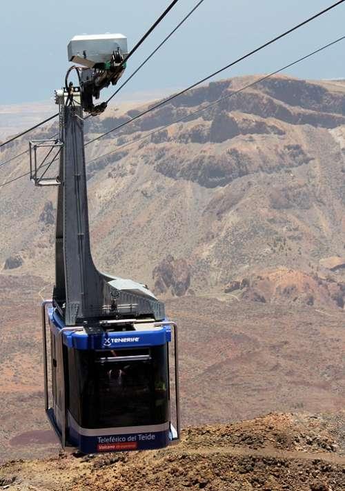 Cableway Cabin Transport Tenerife Teide Volcano