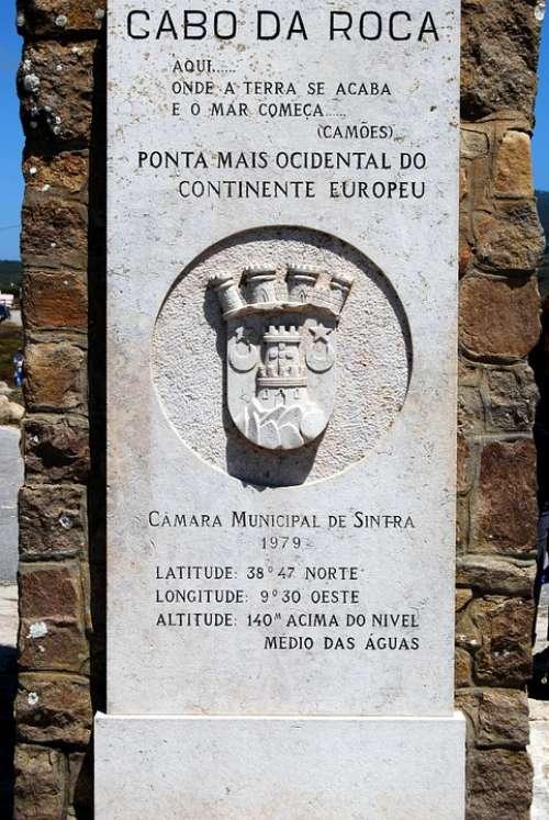 Cabo Da Roca Monument Portugal Extreme West Europe
