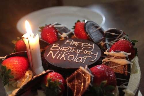 Cake Candle Strawberry Chocolate Birthday