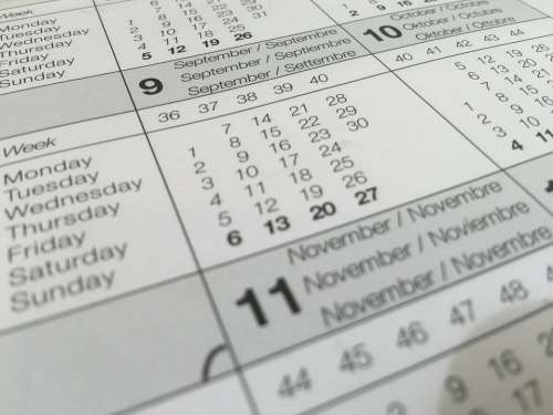 Calendar Date Dates Distribution Of The Week