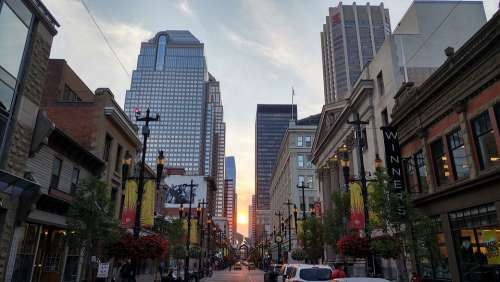Calgary Sunset Pedestrian Zone Canada City