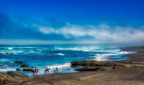 California Pacific Ocean Sea Horseback Riders