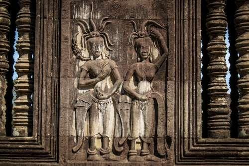 Cambodia Ankgor Wat Siem Reap Engraving Ruin