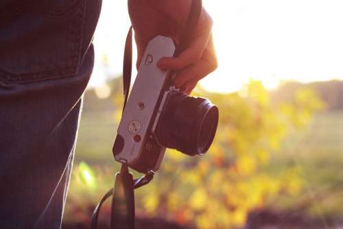 Camera Holding Person Photography Photographer