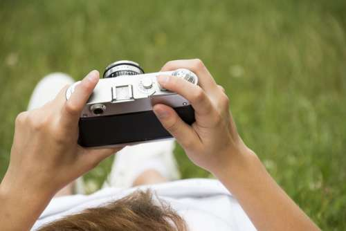 Camera Old Retro Holding In Hands Travel Photo