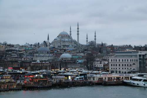 Cami Süleymaniye Boat Fisherman Islam Istanbul