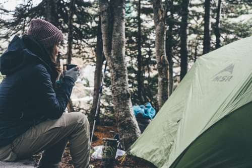 Camping Tent Nature Girl Woman People Jacket