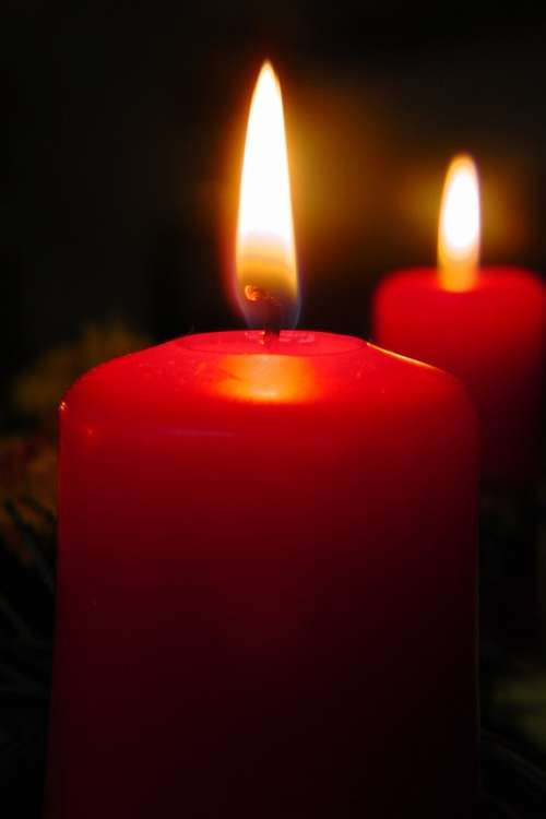 Candle Flame Cozy Red Advent