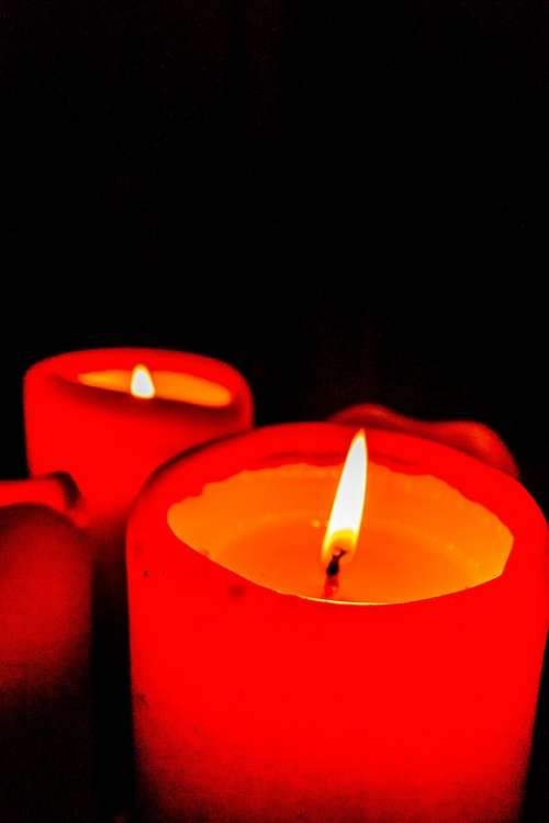 Candles Red Flame Black Love Christmas