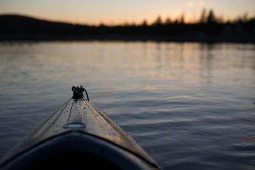 Canoe Lake Sunset Water Nature Landscape Boat