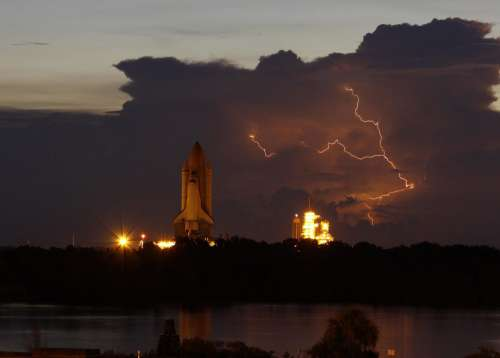 Cape Canaveral Space Shuttle Launch Pad Lightning