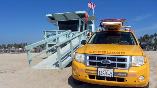 Car Beach Watch Life Guard Venice Beach Drown