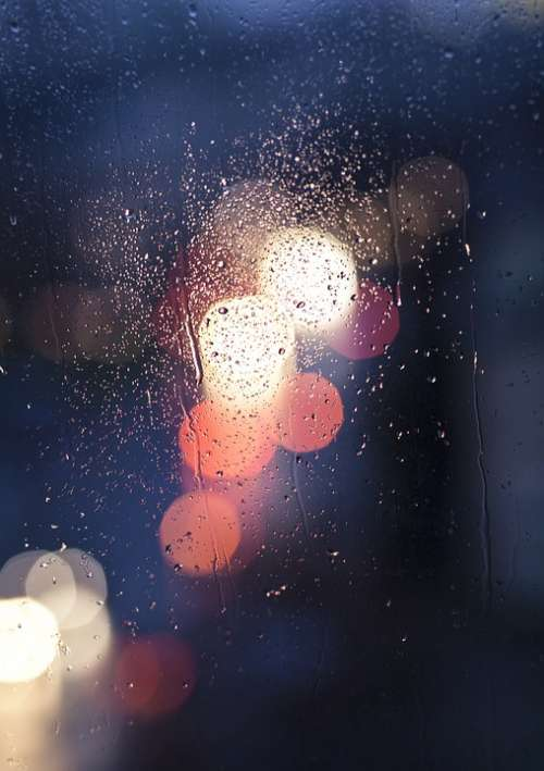 Car Lights Colors Drops Lights Night Rain Window