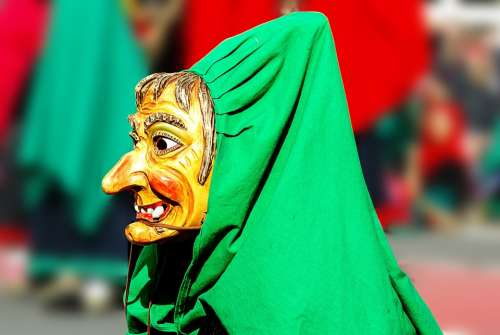 Carnival The Witch Mask Colorful Costume Panel