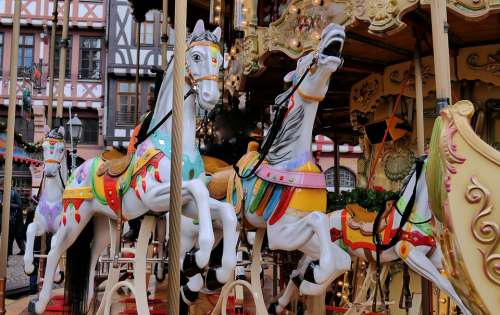 Carousel Christmas Market Atmosphere Fun Advent