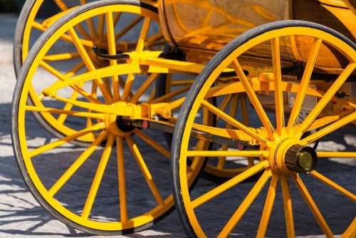 Carriage Wheels Yellow Wheel Cart Transport Old