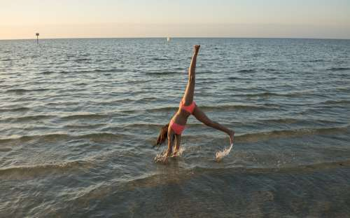 Cartwheel Gymnastics People Person Beach Water