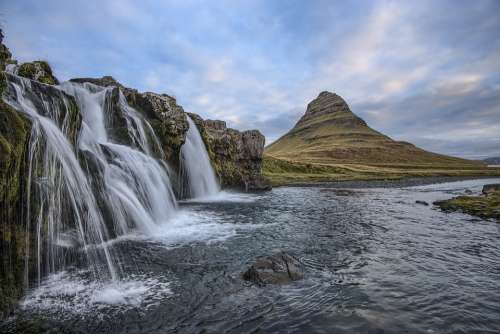 Cascade Iceland Landscape Mountain Nature Outdoors