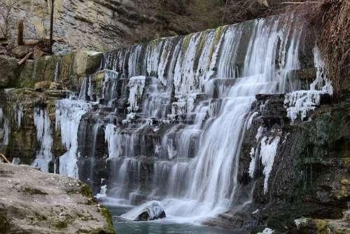 Cascade Nature Landscape River Flowing Water