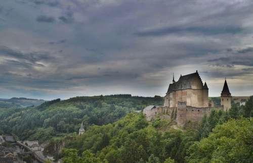Castle Ominous Turret Stonework Mountains Europe