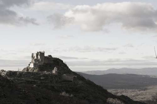 Castle Winter Spain Extremadura Ruins Hill Nature