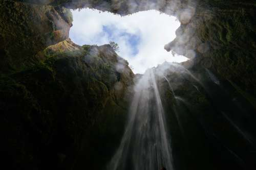 Cave Pit Waterfall Inside Deep Down Looking Up