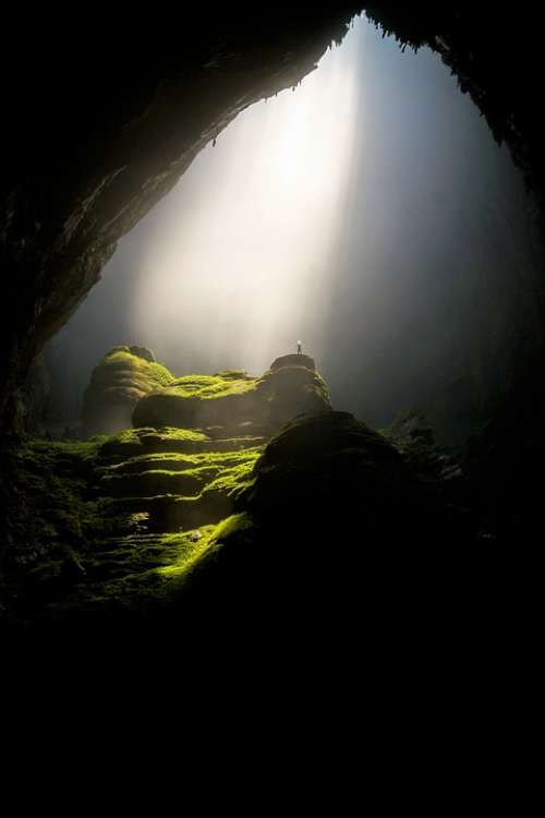 Cave Cavern Dark Daylight Landscape Moss Nature