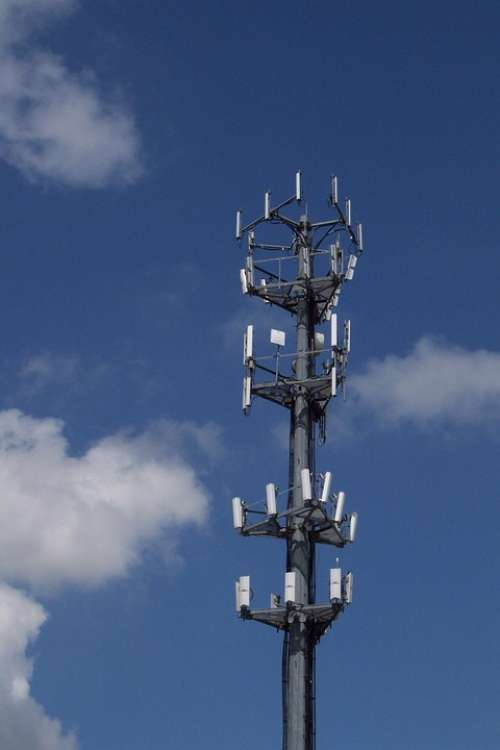 Cell Tower Sky Clouds Technology Antenna