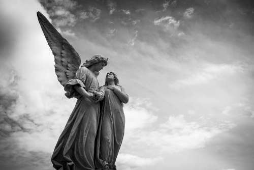 Cemetery Peace Angel Sculpture Figure Calm