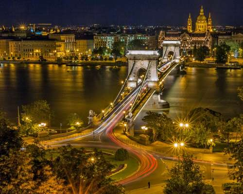 Chain Bridge Budapest Roundabout Hungary Bridge