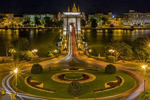 Chain Bridge Budapest Roundabout Hungary Bridge