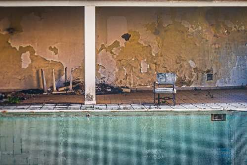Chair Pool Old Abandoned Hotel Destroyed Shabby