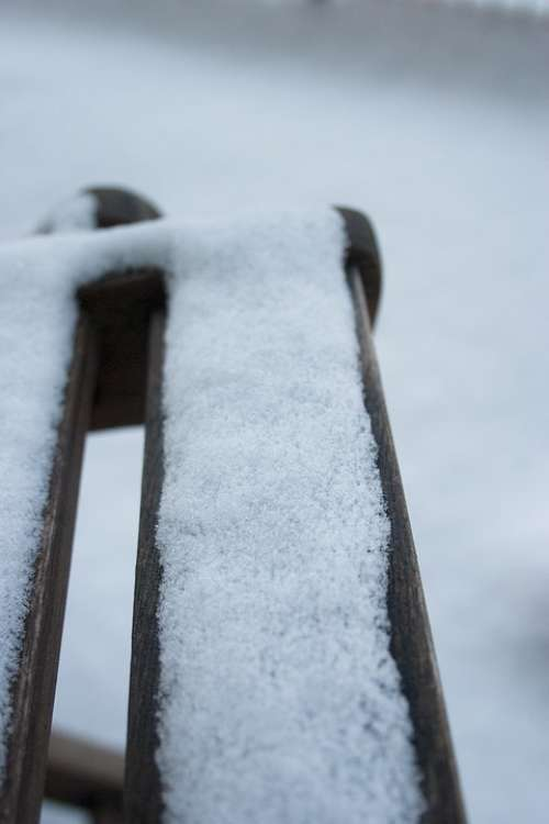 Chair Snow Wood White Snowfall Winter Cold