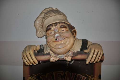 Chef Old Figure Chef Hat Man Sign Antique
