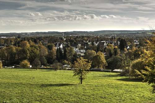 Chemnitz Landscape View Sky Distant View Panorama