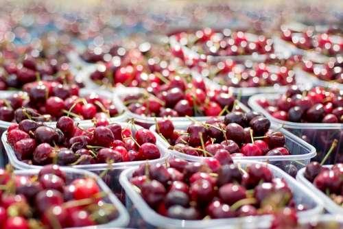 Cherries Tubs Of Cherries Farmer'S Market Fruit Red