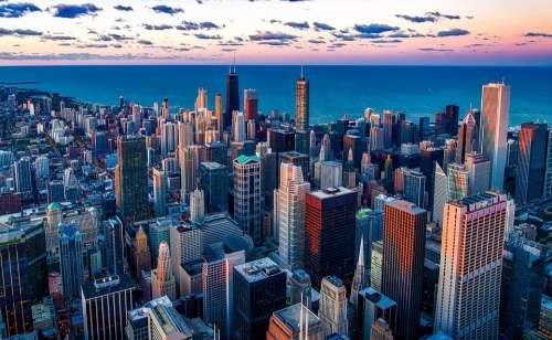 Chicago Illinois Lake Michigan Water Skyscraper