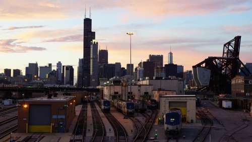 Chicago Cityscape Architecture Skyscrapers Sunset