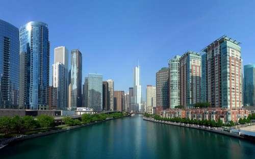 Chicago City Building Skyscrapers River