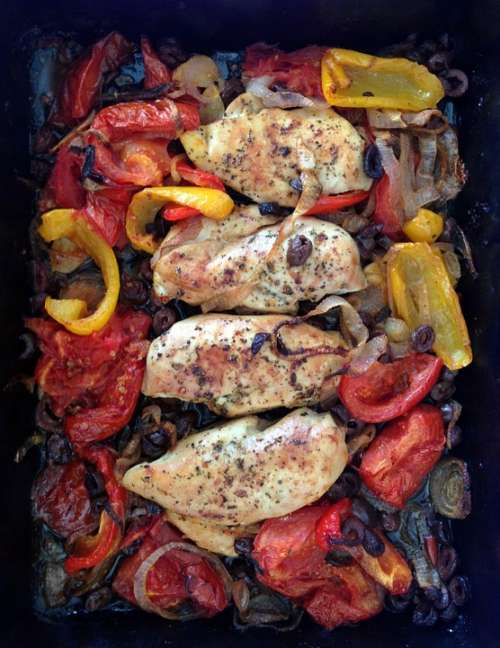 Chicken Oven Peppers Food Poultry Cooking Roast