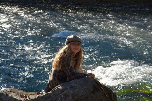 Child Girl Blond Long Hair River Water Nature