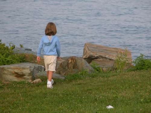Child Girl Ocean Walking Summer Kid Water Grass