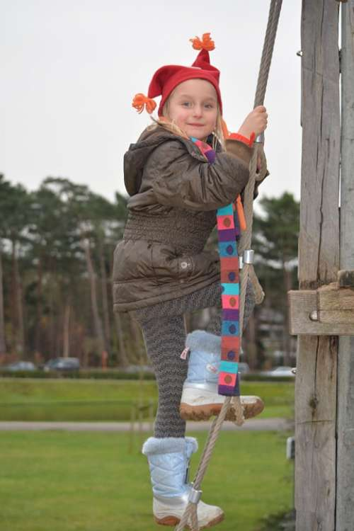 Child Girl People Winter Clothing Hat Bones Scarf