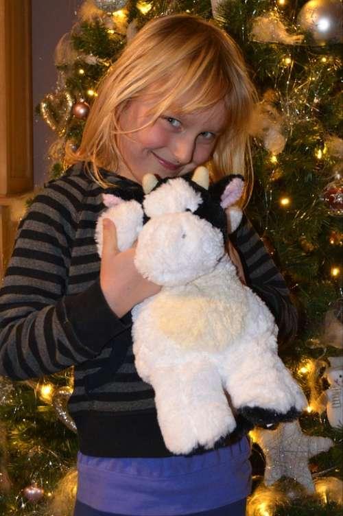 Child Christmas People Girl Stuffed Animal Happy