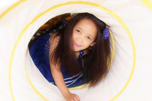 Child Girl Crawling Tunnel Therapy Play Fun