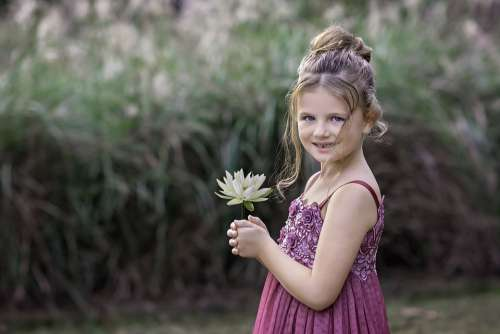 Child Portrait Girl Flower Nature Portrait