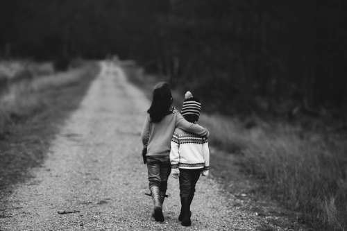 Children Road Distant Supportive Support Path