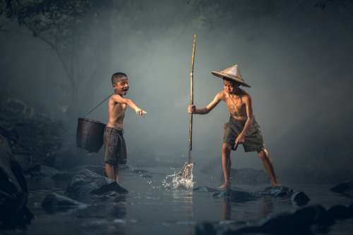 Children Fishing Teamwork Together Boys Young
