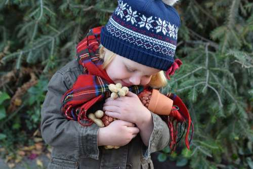 Children Hugging Grandchildren A Small Child